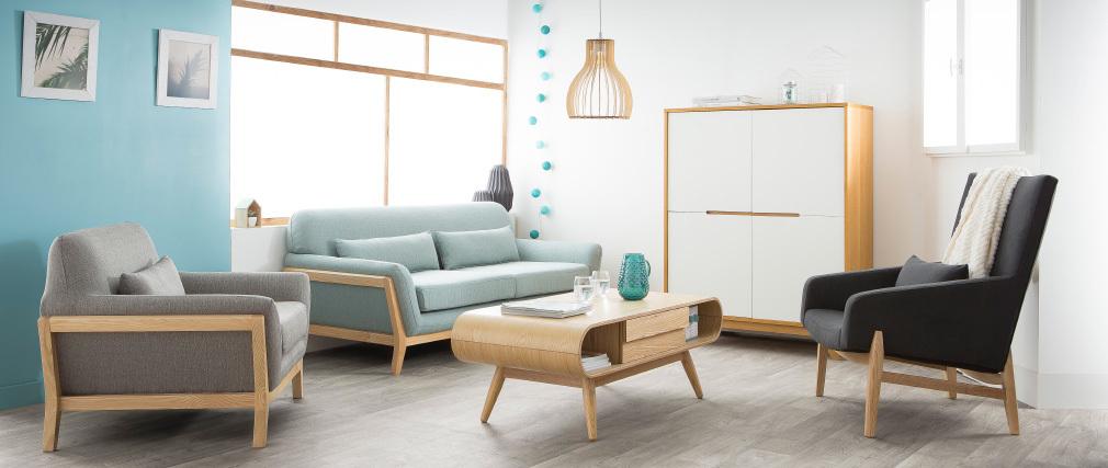 Mesa de centro escandinava madera natural BALTIK