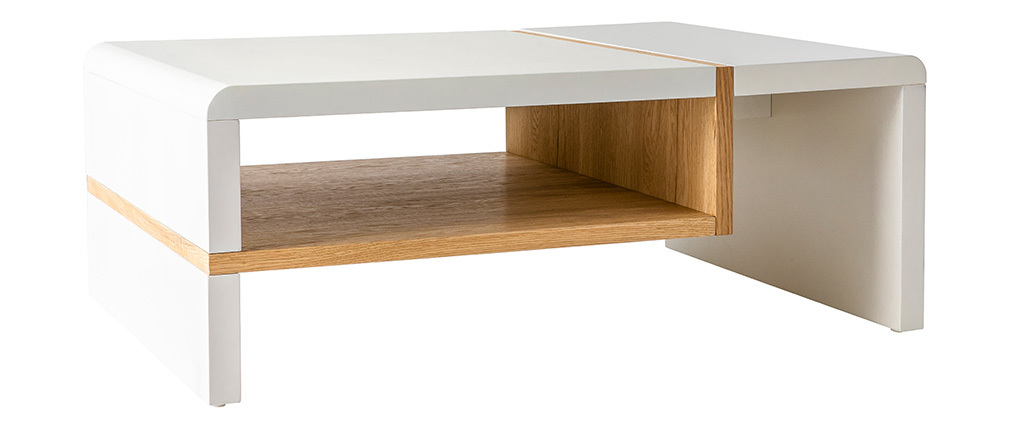 Mesa de centro lacada blanca y chapado roble INSERT