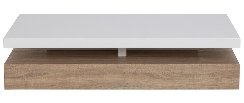Mesa de centro lacado blanco brillante y madera SONOMA