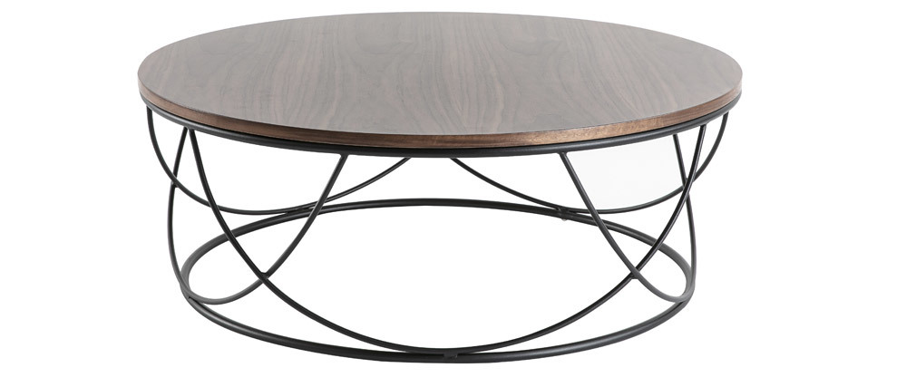 Mesa de centro madera oscura y metal negro redonda 80 cm LACE