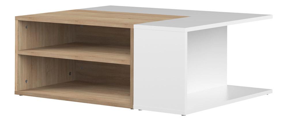 Mesa de centro madera y blanco amovible QUADRA