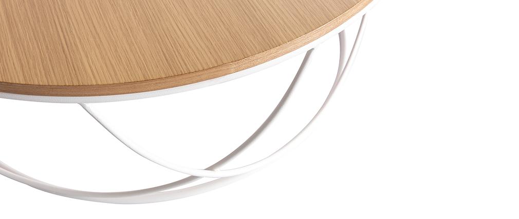 Mesa de centro madera y metal blanco redonda 80 cm LACE