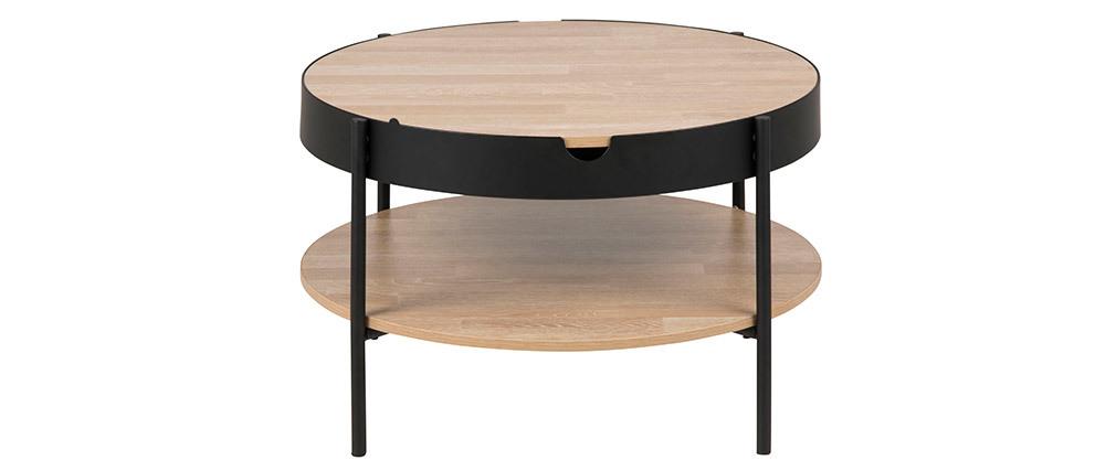 Mesa de centro madera y metal negro 75cm SUZIE