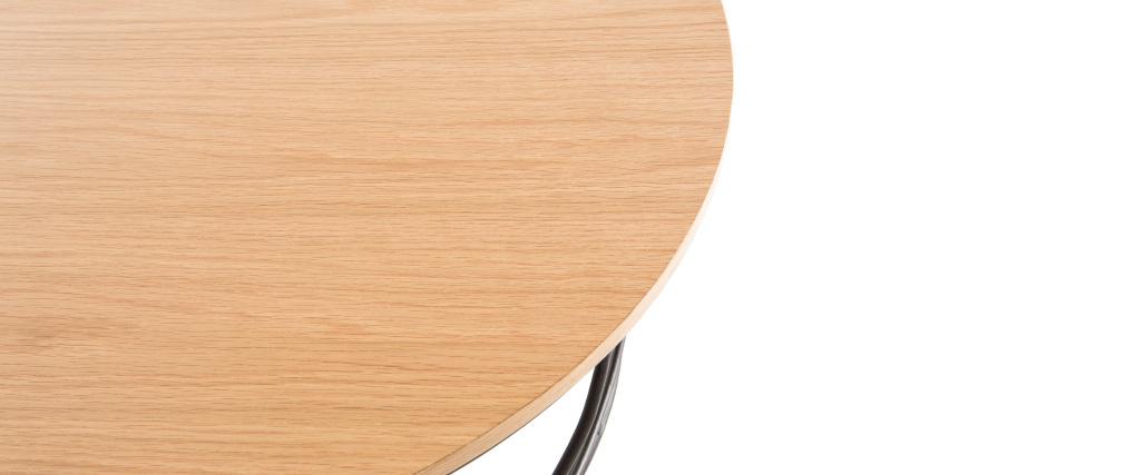 Mesa de centro madera y metal negro redonda 80cm LACE