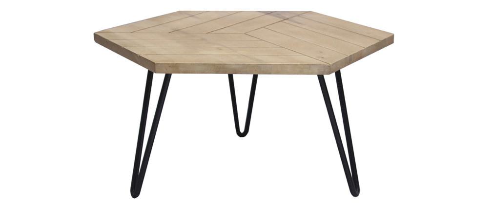 Mesa de centro mango y metal negro VIBES