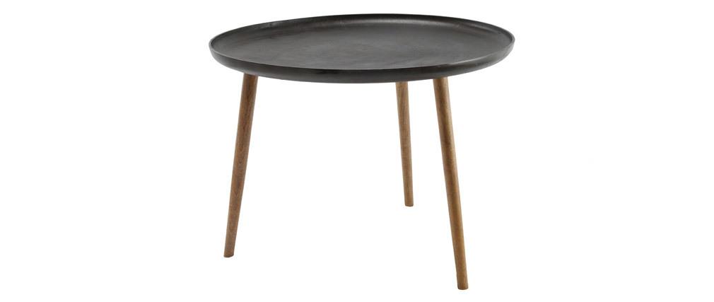 Mesa de centro metal y patas madera LUMI