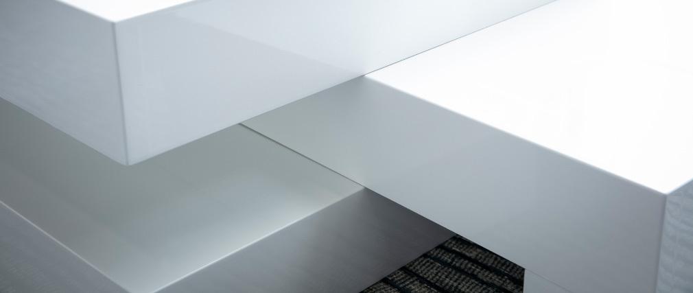 Mesa de centro moderna blanco brillante LUNA