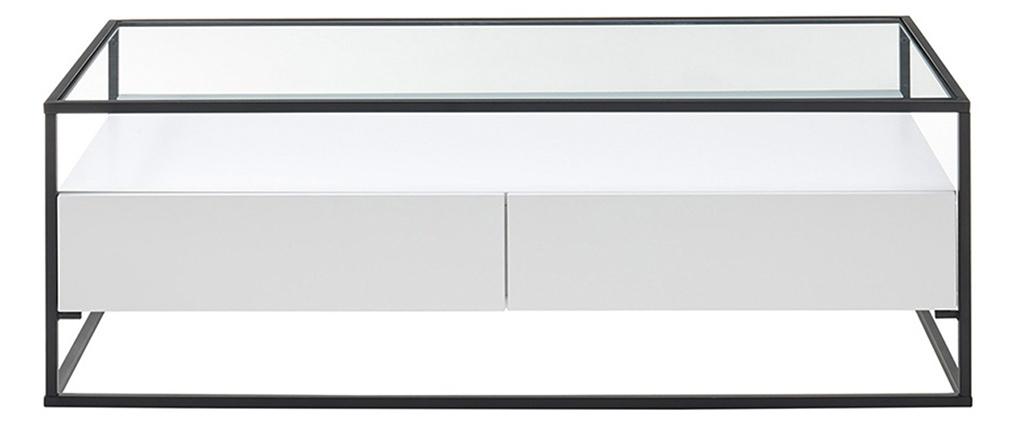Mesa de centro moderna con tablero de cristal y cajones blanca FINN