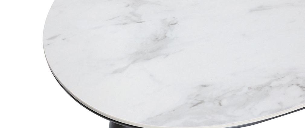 Mesa de centro moderna efecto mármol con patas madera y oro ALLURE