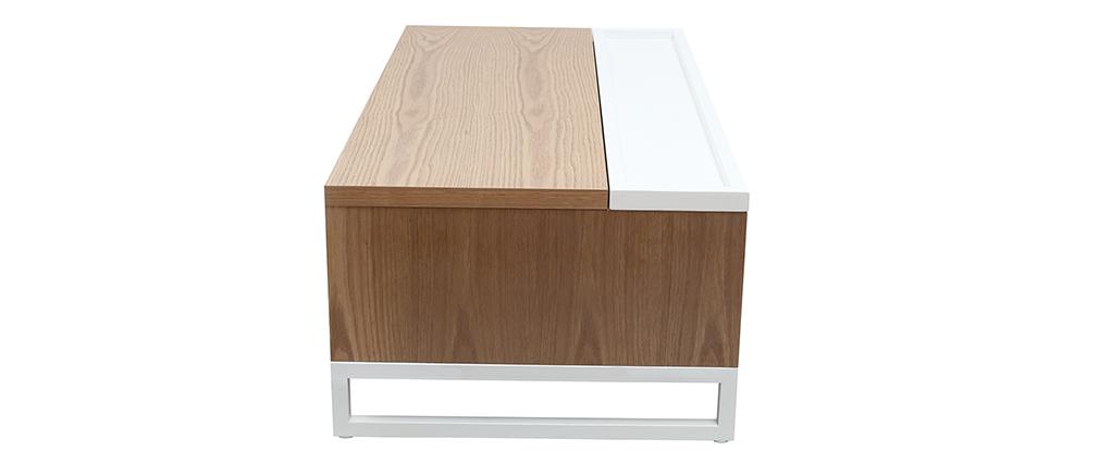 Mesa de centro moderna elevable madera y blanca con almacenaje URBAN