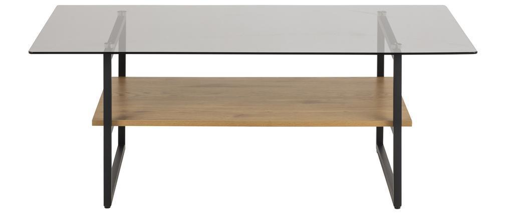 Mesa de centro moderna en cristal ahumado con estante efecto roble ZAHO