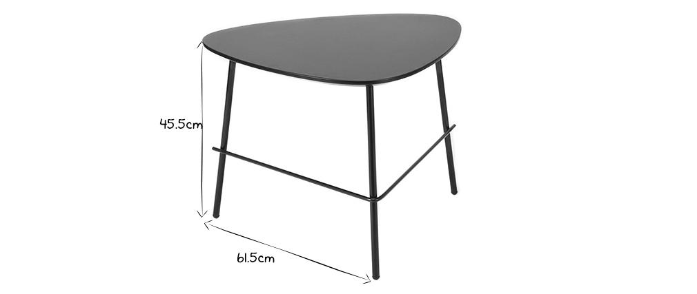 Mesa de centro moderna metal negro 60cm BLOOM