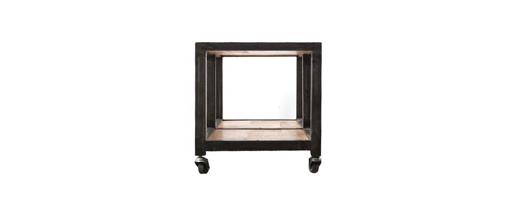 Mesa de centro / mueble TV madera maciza y metal ATELIER ROLL