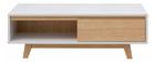 Mesa de centro nórdica blanca brillante y madera LAHTI