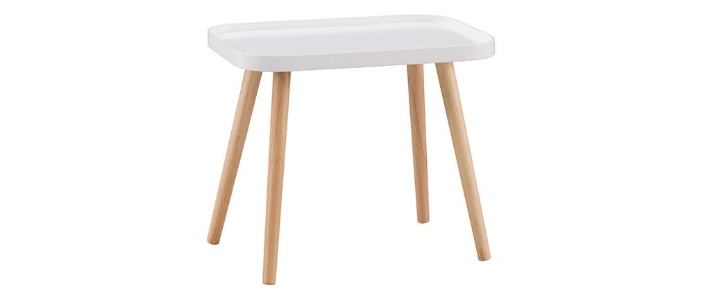 Mesa de centro nórdica blanca y madera clara BENTO