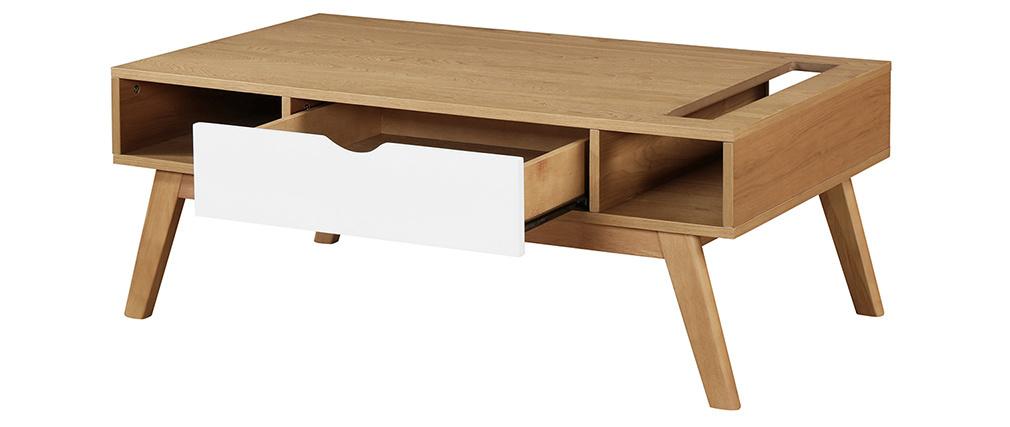 Mesa de centro nórdica blanca y madera clara NEELA