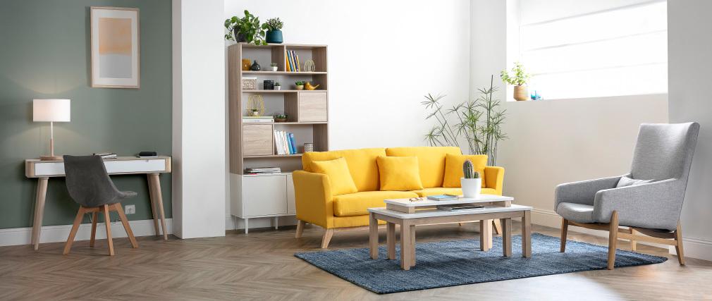 Mesa de centro nórdica con banco integrado blanco y madera clara CYBEL