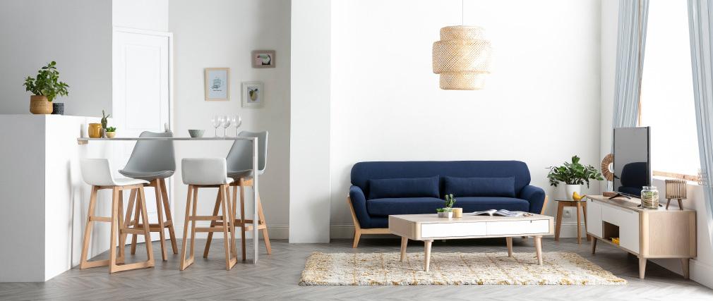Mesa de centro nórdica fresno y blanco GOTLAND