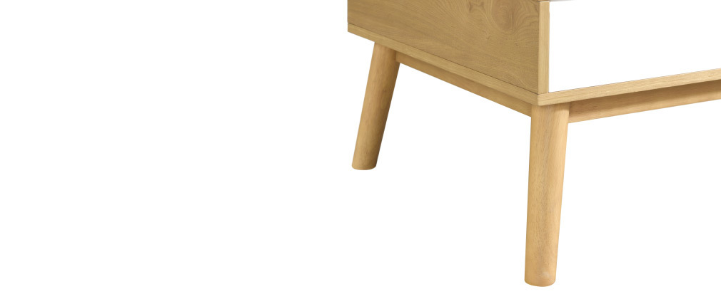 Mesa de centro nórdica madera clara y blanca con almacenaje TALIA