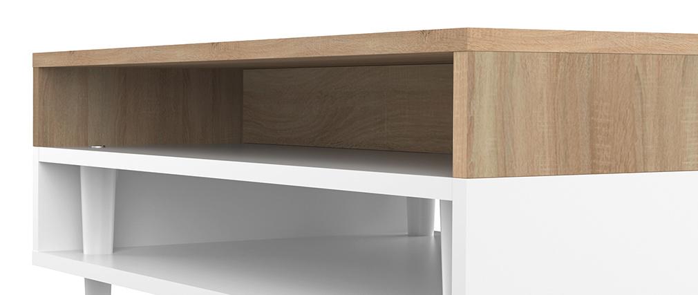 Mesa de centro nórdica madera y blanca STRIPE