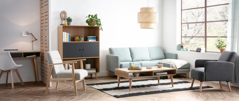 Mesa de centro nórdica roble claro y gris COPENHAGUE