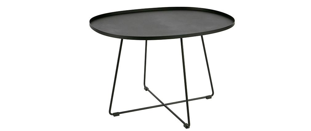 Mesa de centro oval metal negro JUBEZ