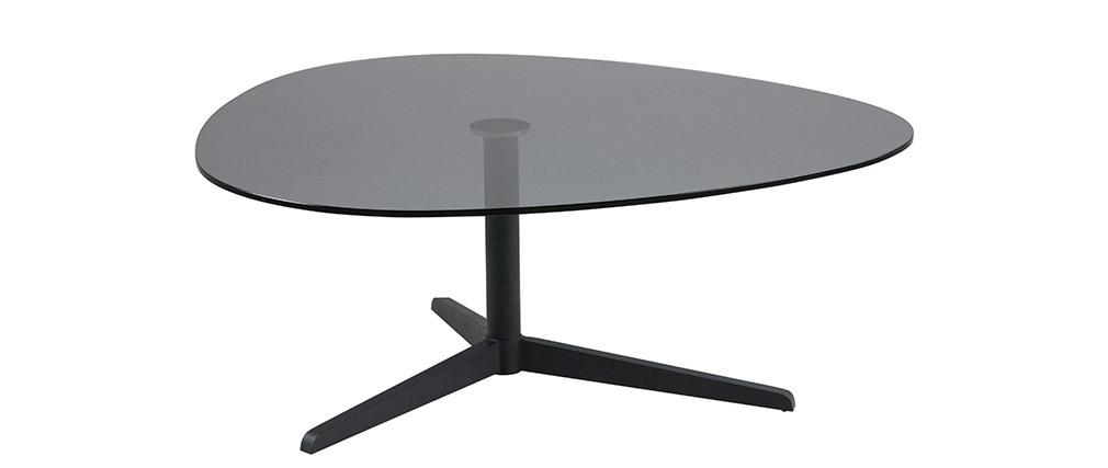 Mesa de centro oval negra en cristal ahumado y metal GALET