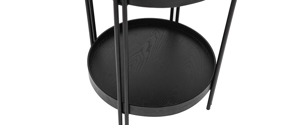 Mesa de centro redonda acabado roble negro y metal D45 cm TWICE