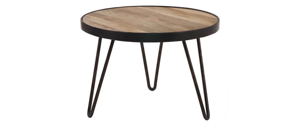 Mesa de centro redonda diseño industrial 50x35cm ATELIER