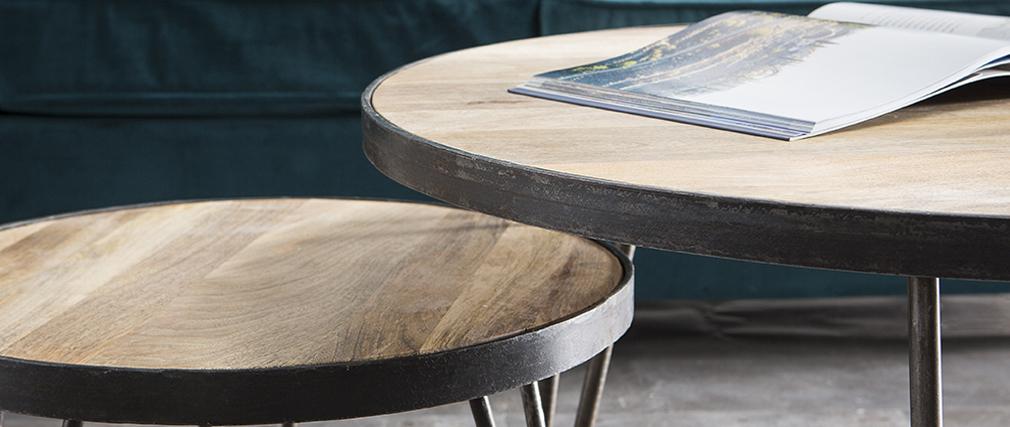 Mesa de centro redonda diseño industrial 80x45 cm ATELIER