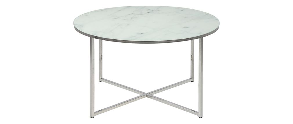 Mesa de centro redonda efecto mármol blanco y patas en metal cm ALCINO