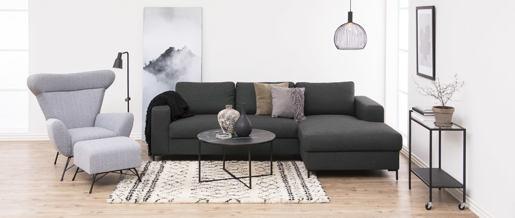 Mesa de centro redonda efecto mármol negro patas metal ALCINO