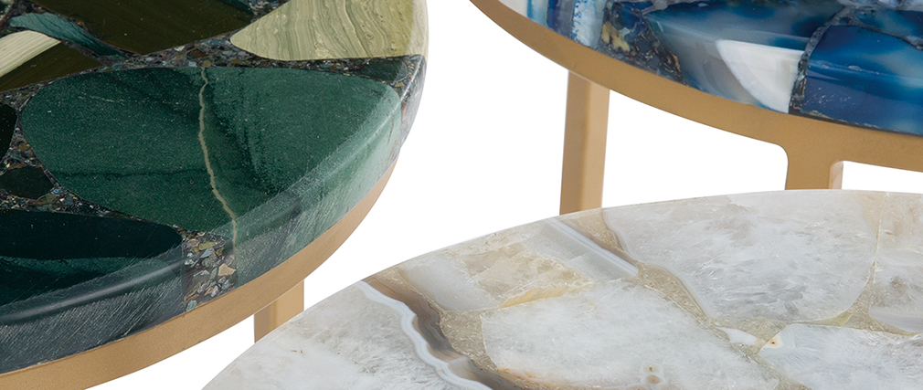 Mesa de centro redonda en ágata D40 cm PIETRA