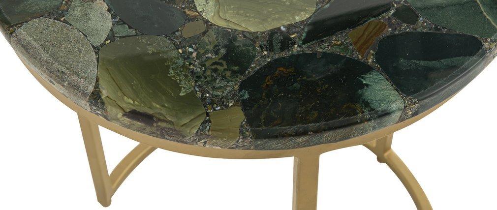 Mesa de centro redonda en jaspe verde D40 cm PIETRA