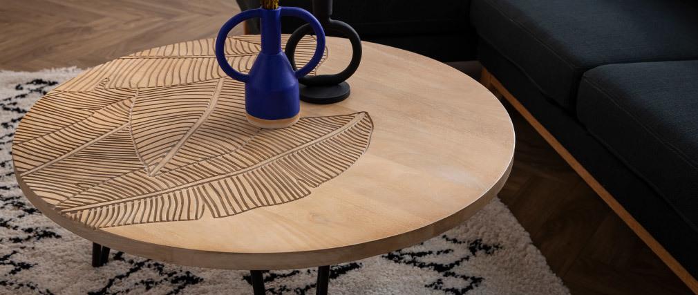 Mesa de centro redonda grabada en mango y metal negro VIBES