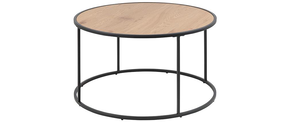 Mesa de centro redonda madera y metal negro D80 cm TRESCA