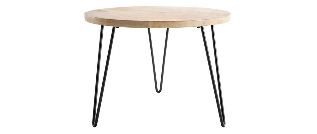 Mesa de centro redonda mango patas horquilla metal VIBES