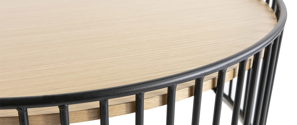 Mesa de centro redonda moderna madera clara y metal HARP