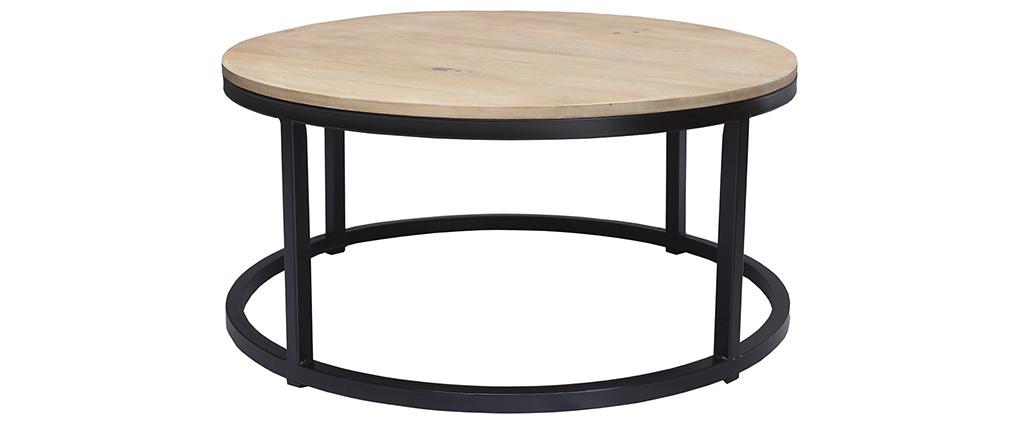 Mesa de centro rendonda en mango y metal negro D80 cm FACTORY