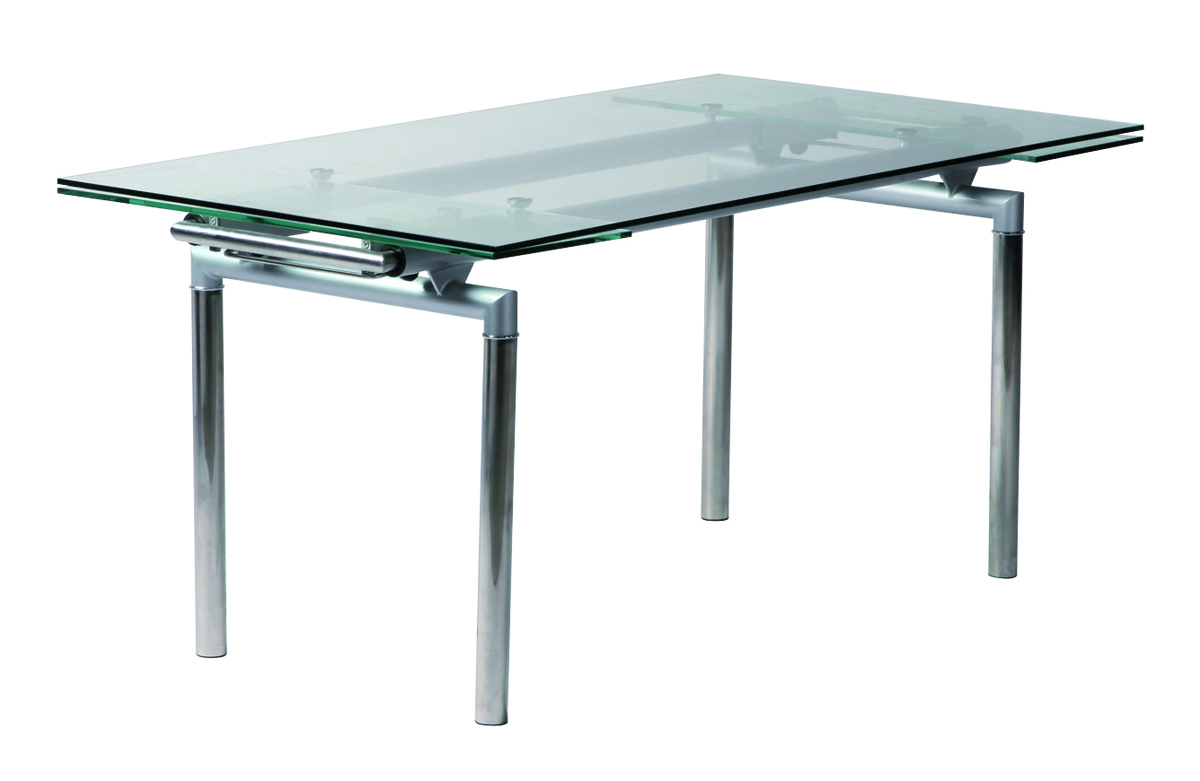 Mesa de cocina comedor carter desplegable de metal y cristal templado miliboo - Tavolo mercatone uno ...