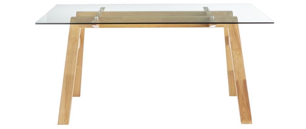 Mesa de comedor cristal transparente y madera L160 cm BACCO