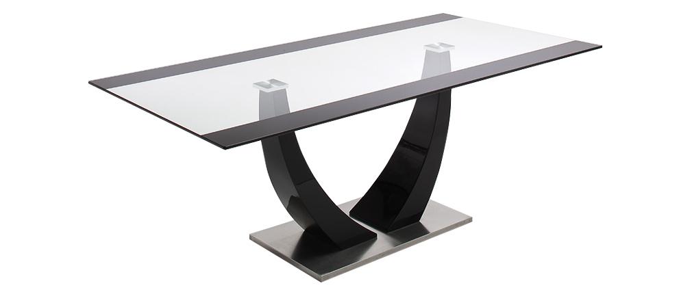 Mesa de comedor cristal y pata lacada negra 200 cm PEARL