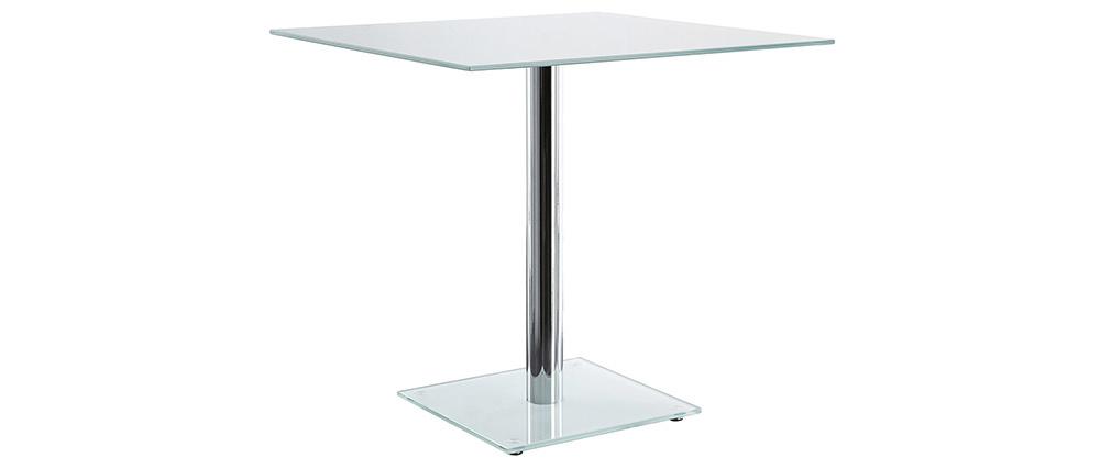 Mesa de comedor cuadrada cristal blanco y pata cromada 80 cm KROM