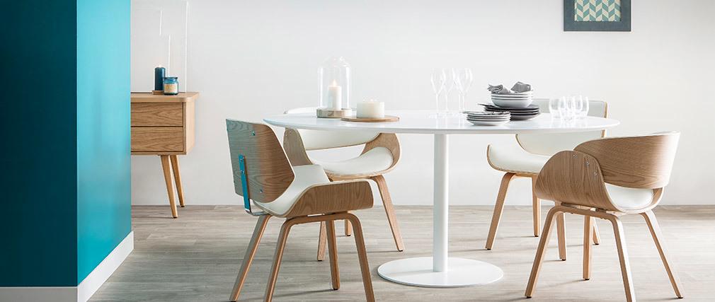 Mesa de comedor diseño blanco L169 HALIA