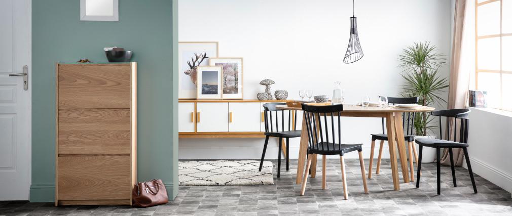 Mesa de comedor diseño escandinavo oval nogal MARIK