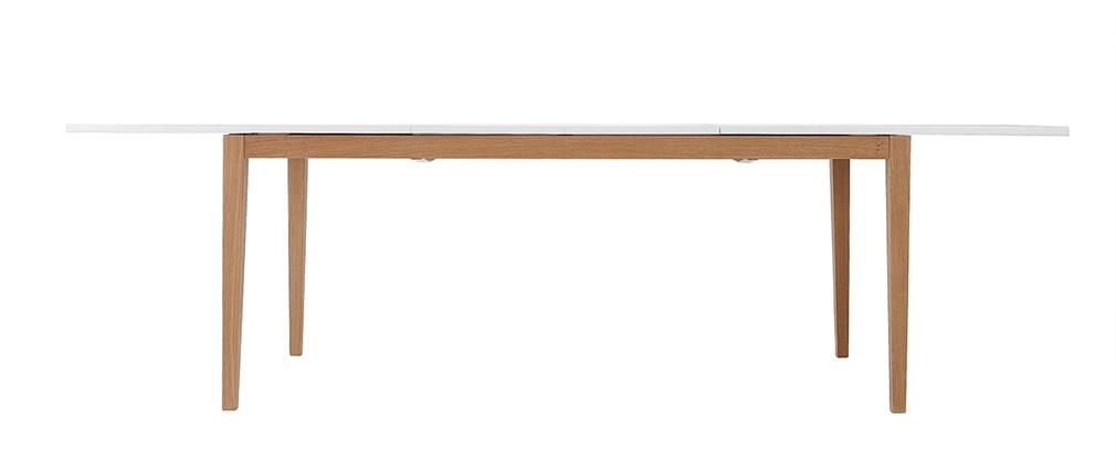 Mesa de comedor diseño extensible blanca patas madera L180-260 DELAH