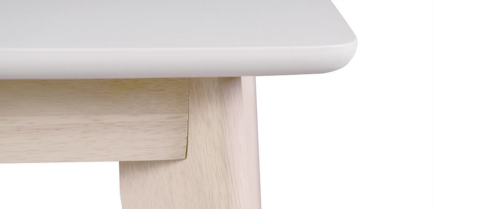 Mesa de comedor diseño extensible blanca y madera clara L150-200 LEENA