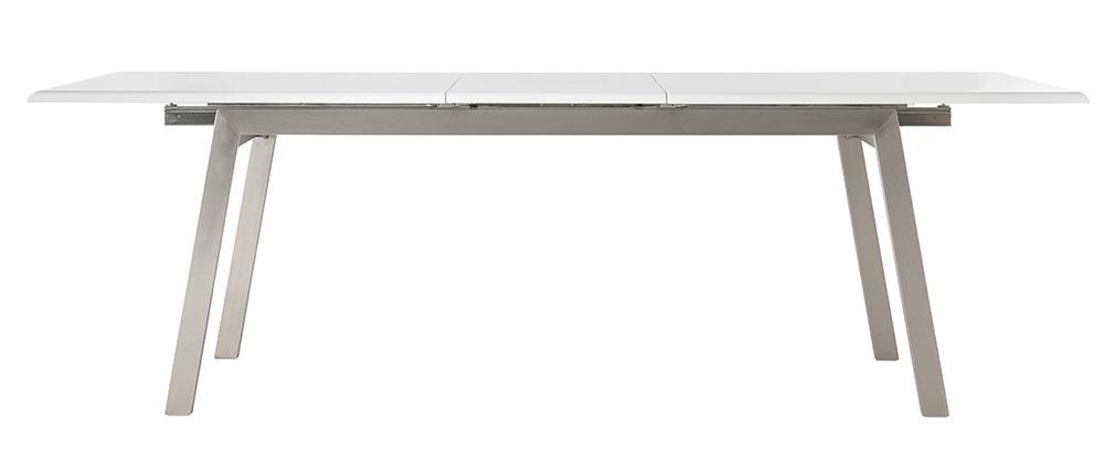 Mesa de comedor diseño extensible blanca y metal L190-240 MARNY