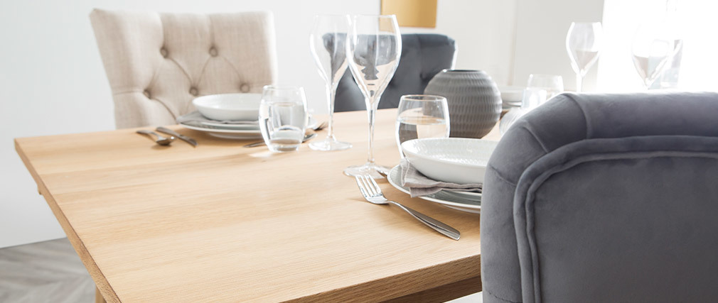 Mesa de comedor diseño extensible madera HONORE