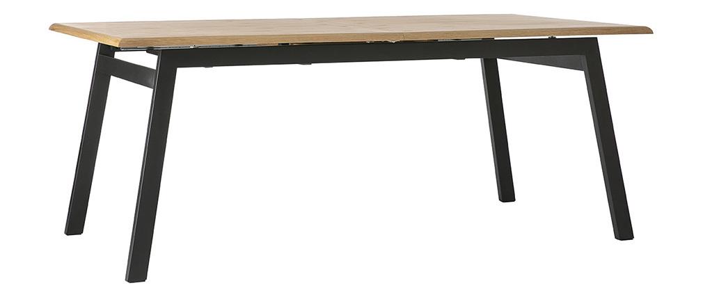 Mesa de comedor diseño extensible madera y metal L190-240 MARNY
